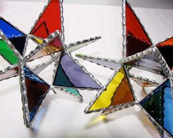 Stained Glass Suncatcher - Multi-colored Moravian Star Tree Topper, Ornament, Christmas Decoration