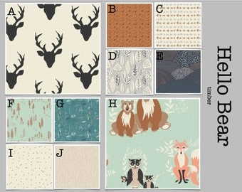 Crib Bedding- Design Your Own Baby Bedding- Hello Bear Timber-- mint, gray, turquoise, bear, fox, antler