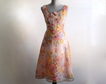 Vintage Sheer Chiffon Floral Party Dress