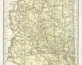 ARIZONA VINTAGE MAP Nelson's Perpetual Loose-leaf Encyclopedia Book Page