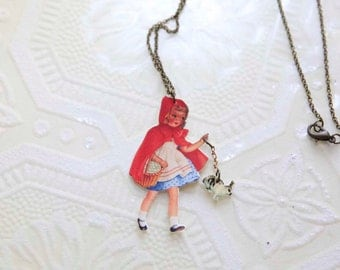 SALE!! Little Red Riding Hood and Bunny Necklace. Fairy tale Necklace. Childhood Story Inspired jewelry