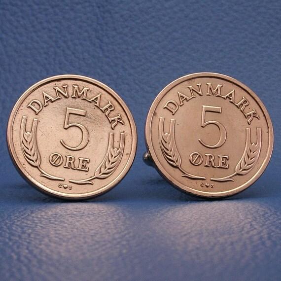 Denmark Vintage Bronze Coin Cufflinks - 5 ore Frederik IX Barley