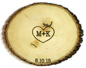 Simple Heart Initial Design: Wood slice rustic theme wedding guest books. Personalized