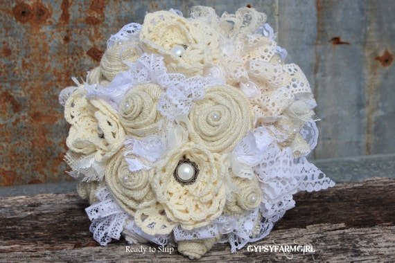 Rustic All White and Cream Bridal Bouquet