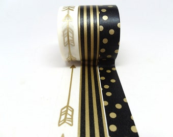 Gold Arrow, Black and Gold Stripe, Black and Gold Polka Dot Washi Tape Set of 3