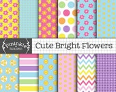 Floral Digital Paper Pack, Bright Scrapbook Paper, Digital Background, Digital Download, Cute, Flower, Chevrons, Polka Dots, Commercial Use