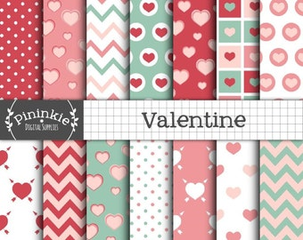 Valentine Digital Paper Pack, Hearts, Polka Dots, Chevrons, Instant Digital Download, Commercial Use