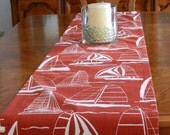 Nautical, Boats Table Runner White on Red, 15 x 60+. Wedding Decor, Shower,  Kitchen, Dining Summer