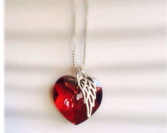 Memorial Gift  - Red Heart Necklace - Red Swarovski Crystal Necklace - Red Swarovski Heart Charm - Red Angel Wing Necklace