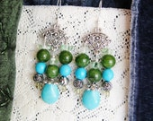 Gemstone chandelier earrings, Bohemian gypsy hippie Silver chandelier earrings with turquoise jade and aquamarine