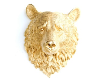 Faux Taxidermy - Metallic Gold Bear Wall Mount - Faux Taxidermy BE08