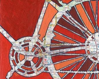Bike Oklahoma City print 13x13-- bike art  Oklahoma City, Midwest City, Del City, Norman art print