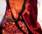 River Sunrise    - Silky faille scarf  or shawl  -  from original batik - women's fashion
