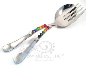 Wire wrapped salad serving set, salad utensils, kitchen utensil, beaded serving utensils, entertaining, fork and spoon set, rainbow