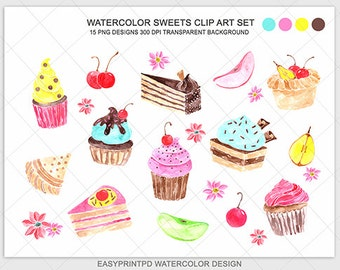 Watercolor Cake Clip Art : cakes clip art on Etsy, a global handmade and vintage ...