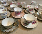 7 Mix and match Vintage China Tea Cup & Saucer Orphan Sets for Wedding / Bridal / Shower / Hostess Gifts / Alice in Wonderland Tea Party