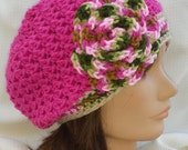 Crocheted Hot Pink & variegated slouchy beanie - Photo prop, winter, colorful, gift, handmade