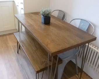 Dining Set - Oak Kitchen Table and Matching Bench