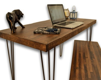 Reclaimed Stained Oak Desk and Matching Bench