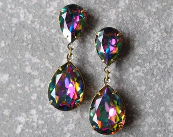 Rainbow Earrings Swarovski Crystal Dark Jewel Tone Rainbow Earrings Pear Tear Drop Rhinestone Post Dangle Duchess Pear Mashugana