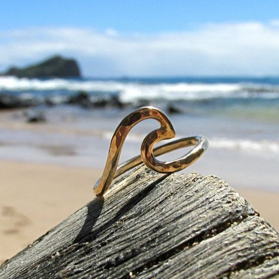 gold wave ring hawaii jewelry surfer by