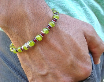 Men's Love, Passion and Commitment Bracelet with Semi Precious Green and Red Garnet, Hematites - Abundance Man Bracelet
