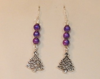 Christmas earrings with purple beads and silver tone Christmas Tree charms on Sterling Silver ear wires, Dangle earrings