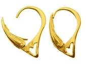 Gold Vermeil EARWIRES over Sterling Silver Euro Lever-backs Ear Hooks 925