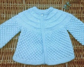 Newborn baby infant boy's girl's traditional pale blue matinee jacket cardigan