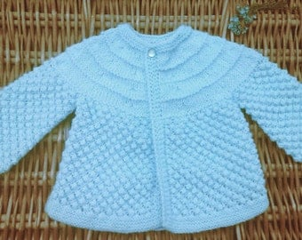 Newborn baby infant boy's girl's traditional handknit pale blue matinee jacket cardigan