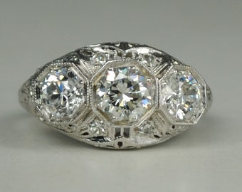 3 Stone Art Deco Mounting in 19kt White Gold