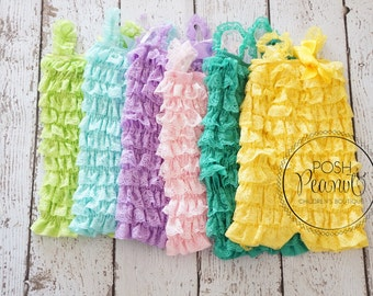 Petti lace romper- Lace Romper - petti romper  - Girls Romper - Baby Romper - Ruffle Romper - 30 colors and more  - Rompers - Romper