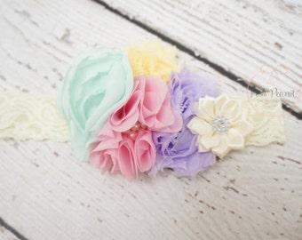 easter baby headband, baby spring headband, lace flower headband, easter headbands, girls easter headband, baby headband, toddler headband