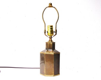 Vintage Octagonal Brass Table Lamp
