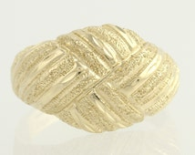 Textured Woven Cocktail Ring - 14k Yellow Gold Domed Women's Size 7 Polished F5408 R