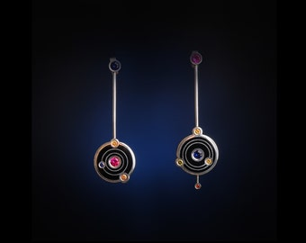 Galactica Earrings - cloisonne enamel earrings