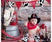 Cowboy Birthday Outfit Party Set in Cow Hide Diaper Cover Chaps Red Bandana and Cowboy Hat Cake Smash outfit