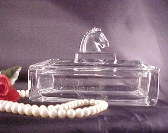 "Vintage Heisey Puritan Horse Head Cigarette Box and Lid, 6"" Collectible Glass Smoking Item, Mid Century Glass Animals, Crystal Figurine"
