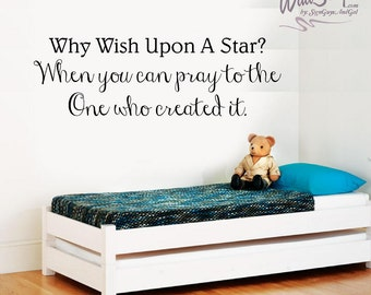 Wish Upon a Star nursery decal, child wall decal, bedroom wall decal