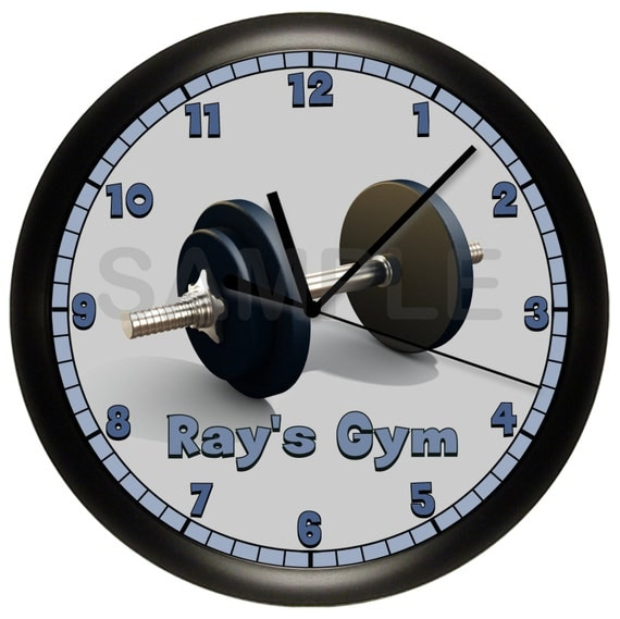 personalized dumbbell fitness wall clock