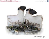 ON SALE Primitive Sheep  Set, shelf sitter, bowl filler, shelf tucks,