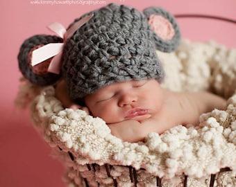 PDF CROCHET PATTERN Crochet Mouse Hat, Baby Mouse Hat, Mouse Beanie, Mouse Hat, Animal Hat, Baby Girl Hat, Newborn Baby Hat Crochet Baby Hat