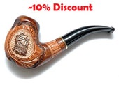 "Tobacco Smoking Pipe ""Metal SHIP"" high quality wooden hand made smoking pipes 