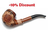 """Hand Carved Smoking Pipe. Tobacco Pipes - Wooden Pipes - Hand Carved Tobacco Wood Pipes """"Anchor 2"""" & GIFT Pouch /BEST PRICE"""