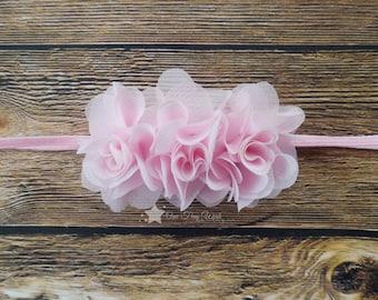 Pink headband, baby elastic headband, baby pink, light pink, baby headband, infant headband, newborn headband, elastic headband, baby girl