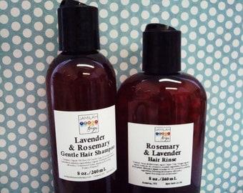 Organic Hair Care Triple-Play: Lavender & Rosemary Organic Shampoo, Rinse, Virgin Coconut Organic Hair Food, Conditioner, Organic Hair Care