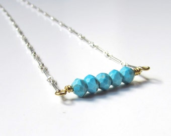 Turquoise Bar Necklace Oxidized Sterling Silver and Gold Delicate Minimalist Gemstone Jewelry Ready to Ship