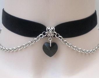 BLACK Glass HEART Charm With Chain BLACK Velvet Ribbon Choker Necklace rb... or choose another colour velvet or heart :)