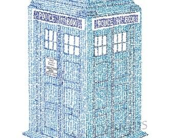 "Tardis Micrography Print (""The Doctor's Wife"" by Neil Gaiman)"
