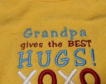 Baby Bib Grandpa Gives Best Hugs Bib Embroidery Baby Boy Baby Girl Gift Idea for Baby Shower Made To Order